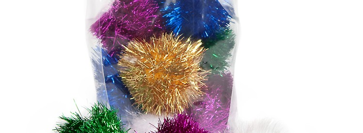 Sparkle ball tuff kitty puff cat toy