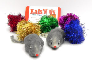 Glitter pom pom and rabbit fur Mouse cat toy pack