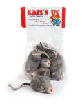 Real Rabbit Fur Mouse Cat Toy with Rattle Sound