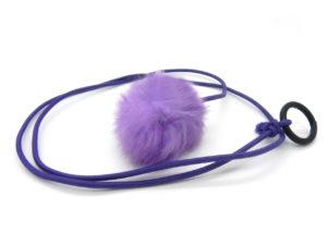 Rabbit fur Pom Pom cat toy